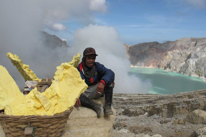 Ijen Volcano Sulphur Miner
